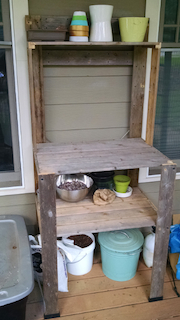 Potting bench from an IKEA shelf