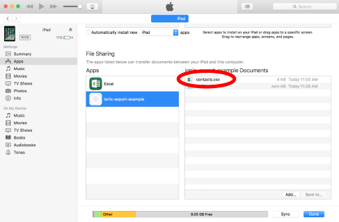iPad file sharing in iTunes